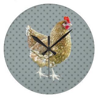 図解入りの、写真付きのな水玉模様の鶏の柱時計 ラージ壁時計