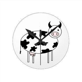 図解入りの、写真付きのな牛 ラウンド壁時計