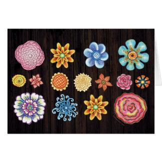 図解入りの、写真付きのな花のNotecard カード