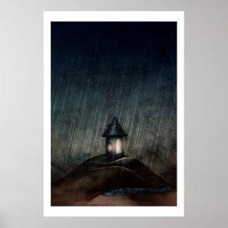 """図解入りの、写真付きのな芸術ポスターは""""""""雨が降ると暖まります ポスター"""