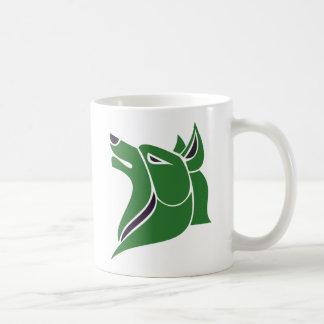 固体2は黒いオオカミの頭部との緑にある調子を与えました コーヒーマグカップ