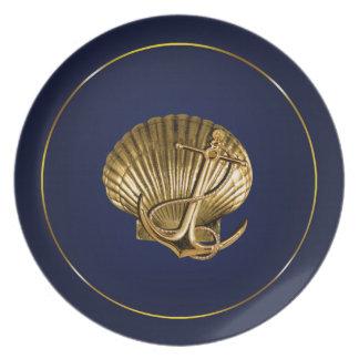 固定された貝殻航海のな|の海軍及び金ゴールド プレート