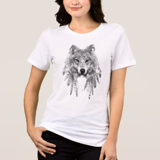 固有の服装によって適合のジャージーのリラックスされるティーのオオカミ Tシャツ