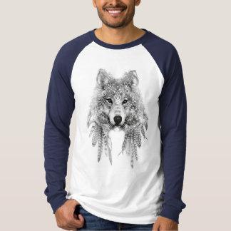 固有の服装のRaglanの長袖のオオカミ Tシャツ