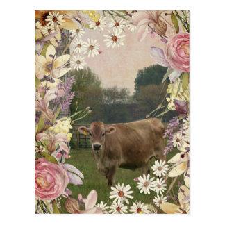 国によってはジャージー牛が開花します ポストカード