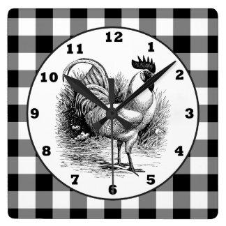 国のオンドリの白黒の点検の時計 スクエア壁時計