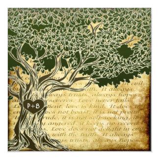 国のオークの木のヴィンテージの結婚式招待状 カード