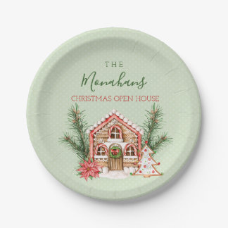 国のクリスマスのお菓子の家 ペーパープレート