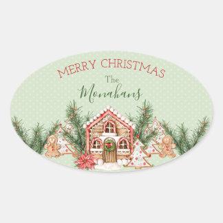 国のクリスマスのお菓子の家 楕円形シール