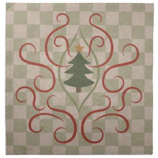 国のクリスマスツリーおよび赤の渦巻 ナプキンクロス