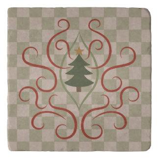 国のクリスマスツリーのチェッカーボードパターン トリベット