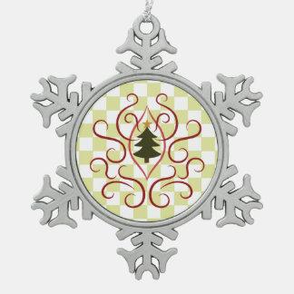 国のクリスマスツリー スノーフレークピューターオーナメント