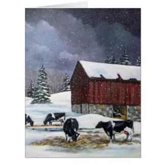 国のクリスマス、ホルスタインは絵画を脅かします カード