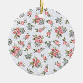 国のコテッジのローズピンクの花柄パターン セラミックオーナメント