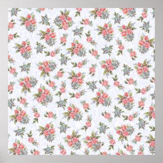 国のコテッジのローズピンクの花柄パターン ポスター