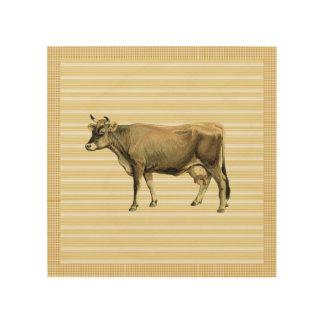 国のタン牛ベージュ色ストライプのギンガムの点検の装飾 ウッドウォールアート