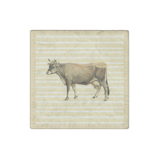 国のタン牛ベージュ色ストライプのギンガムの点検の装飾 ストーンマグネット