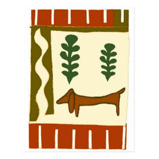 国のダックスフントの季節の挨拶 ポストカード