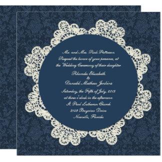 国のデニムのダマスク織及びアイボリーのレースの結婚式 カード