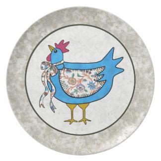 国のパッチワークの鶏 プレート
