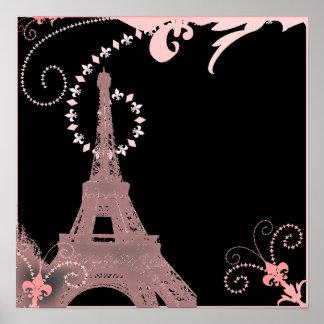 国のピンクのパリぼろぼろのシックでフランスのなエッフェル塔 ポスター