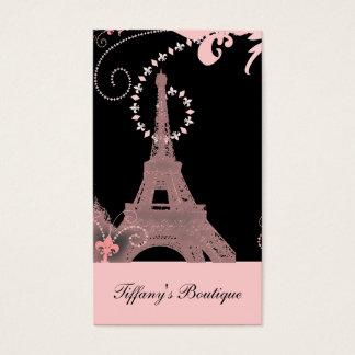 国のピンクのパリぼろぼろのシックでフランスのなエッフェル塔 名刺
