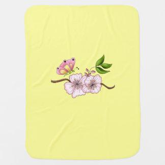 国のピンクの蝶フラワー・ガール ベビー ブランケット