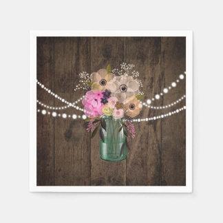国のメーソンジャーの木製の花の結婚披露宴 スタンダードカクテルナプキン