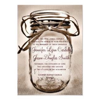 国のメーソンジャーの素朴な結婚式招待状 カード