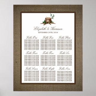 国のモノグラムの木のバーラップの結婚式の座席の図表 プリント