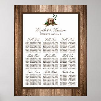 国のモノグラムの木及び木結婚式の座席の図表 プリント