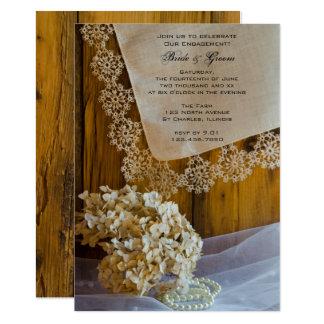 国のレースおよび花の婚約の納屋のパーティー 12.7 X 17.8 インビテーションカード
