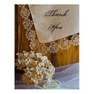 国のレースの結婚式は郵便はがき感謝していしています