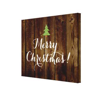 国のヴィンテージの木製のメリークリスマス キャンバスプリント