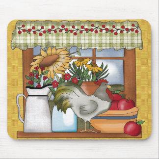 国の台所窓、オンドリ マウスパッド