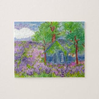 国の小屋のラベンダー分野の水彩画の絵画 ジグソーパズル