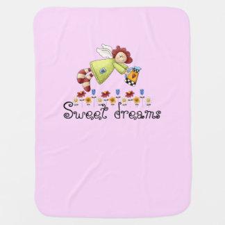 国の庭の天使のピンクの女の子 ベビー ブランケット