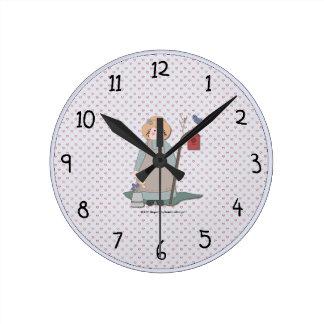 国の庭の女の子の柱時計 ラウンド壁時計