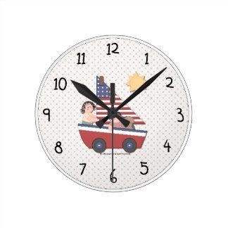 国の愛国心が強い柱時計 ラウンド壁時計