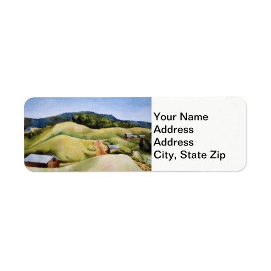国の景色および景色の田舎道の納屋 返信用宛名ラベル