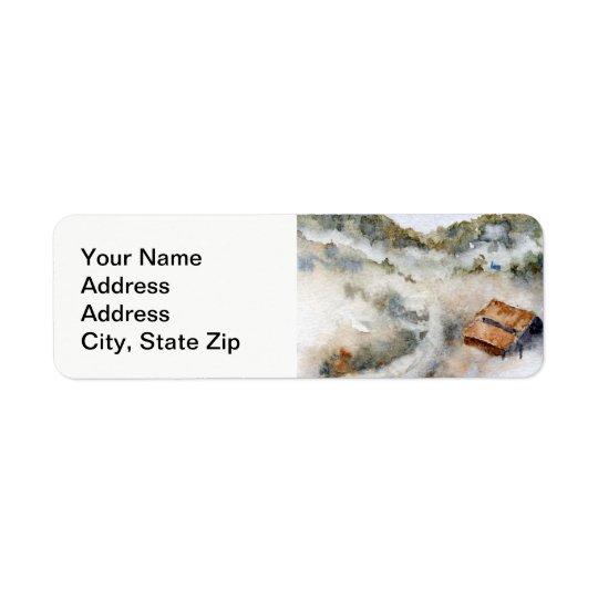国の景色および景色の眺めの上昇の霧 返信用宛名ラベル
