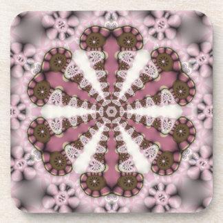 国の曼荼羅のピンクの地球: 6のセット コースター