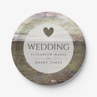 国の木製のハートの結婚 ペーパープレート