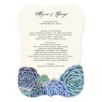 国の水気が多い結婚式メニュー紙 カード