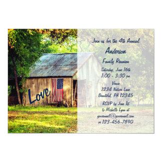 国の納屋の米国旗の家族会の招待 12.7 X 17.8 インビテーションカード