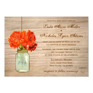 国の素朴なメーソンジャーによっては結婚式が開花します カード