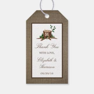国の素朴なモノグラムの木及びバーラップの結婚式 ギフトタグ