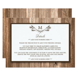 国の素朴なモノグラムの枝及び木結婚式 カード