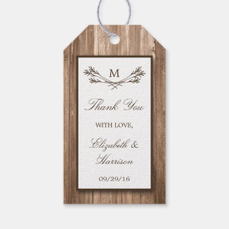 国の素朴なモノグラムの枝及び木結婚式 ギフトタグパック