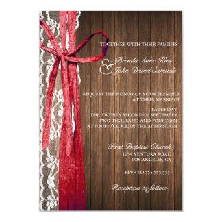 国の素朴なレース木結婚式招待状 カード